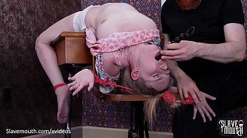 Sexy golden-haired acquires puke fuck and rimjob lessons at the slavemouth schoolhouse