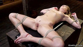 Infirm golden-haired is tormented in hogtie