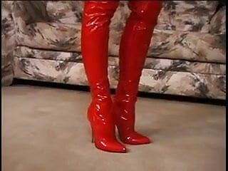 Aged large pantoons dark brown in red latex fastened enjoying her bds