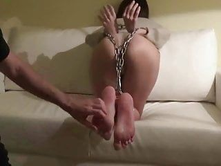 Servitude strumpets feet and chubby booty receive tickled